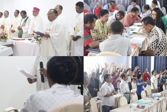 Suasana perayaan ekaristi dalam seminar KBG di Sungailiat